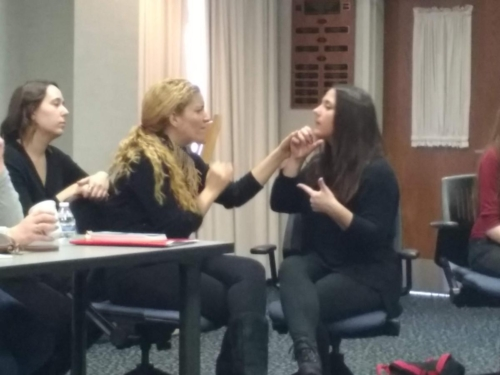 Adriana Reali and Interpreter